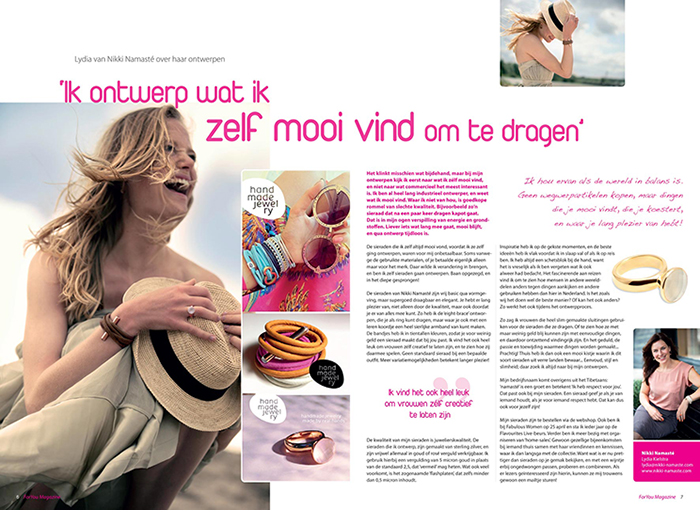 Juli 2015: Leuk Interview In For You Magazine