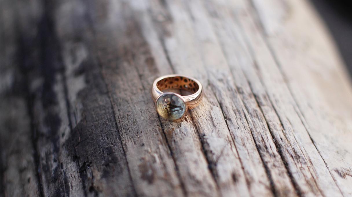 Prasioliet Rose Ring Big Cone